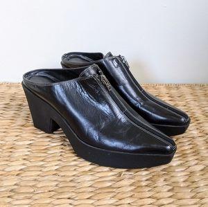 Vtg Platform Black Leather Zip Mules Heels 8.5
